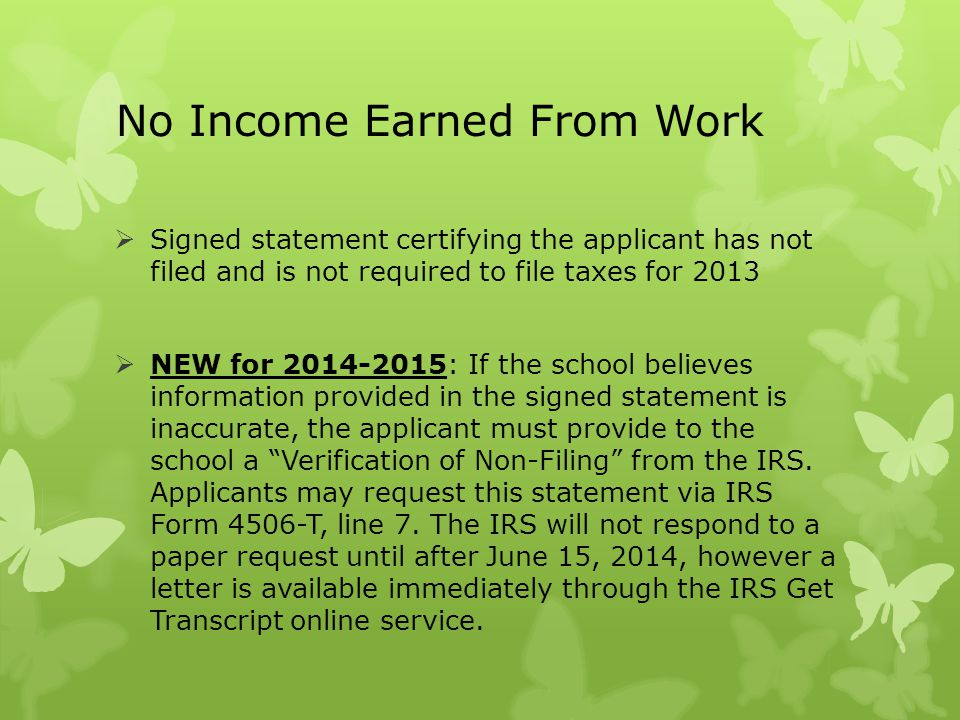 No Income Earned From Work