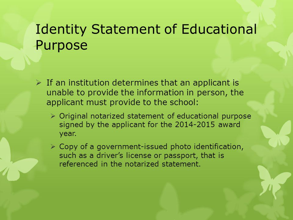 Identity Statement of Educational Purpose