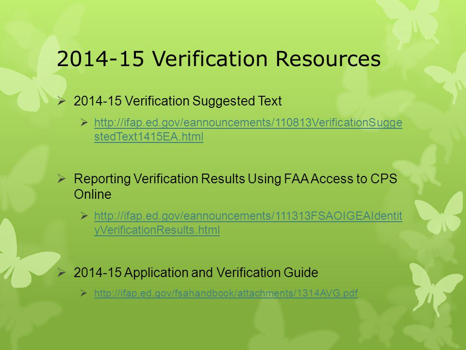 2014-15 Verification Resources