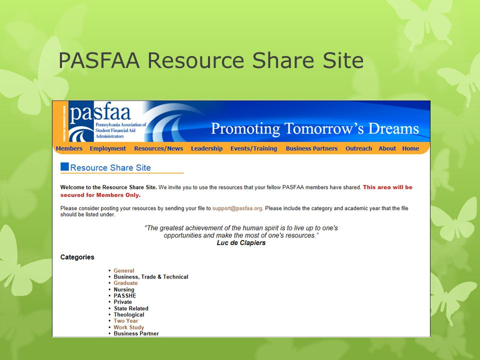 PASFAA Resource Share Site