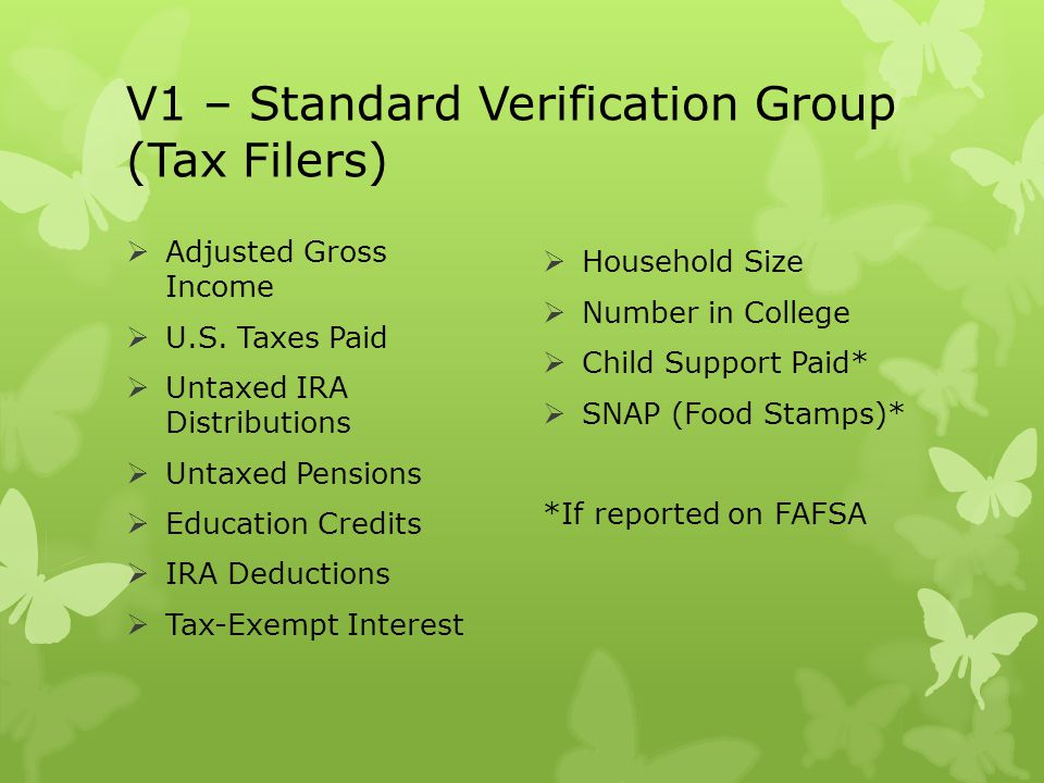 V1 – Standard Verification Group (Tax Filers)