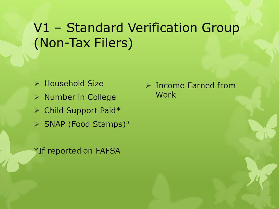 V1 – Standard Verification Group (Non-Tax Filers)