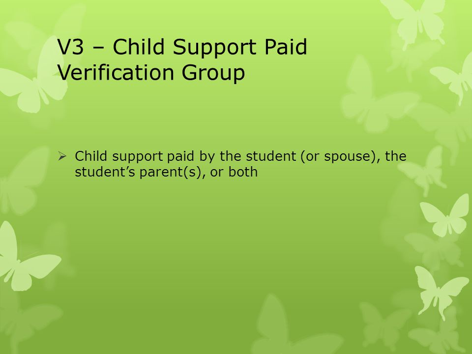 V3 – Child Support Paid Verification Group