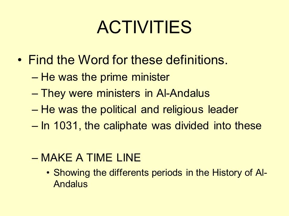 ACTIVITIES Find the Word for these definitions.