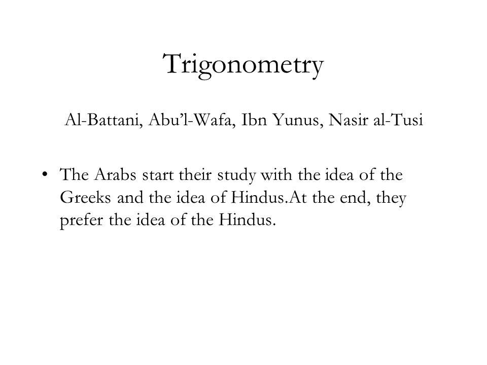 Al-Battani, Abu'l-Wafa, Ibn Yunus, Nasir al-Tusi