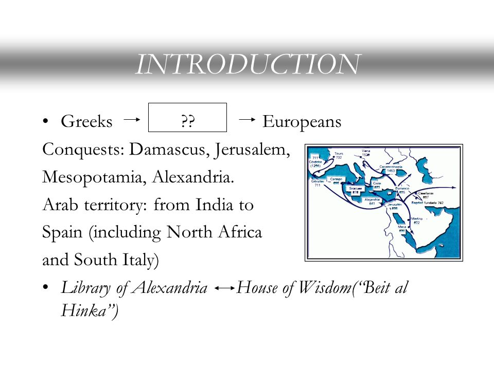 INTRODUCTION Greeks Europeans Conquests: Damascus, Jerusalem,