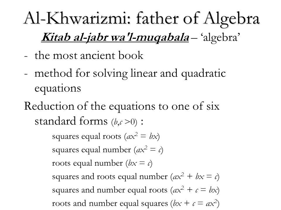 Al-Khwarizmi: father of Algebra