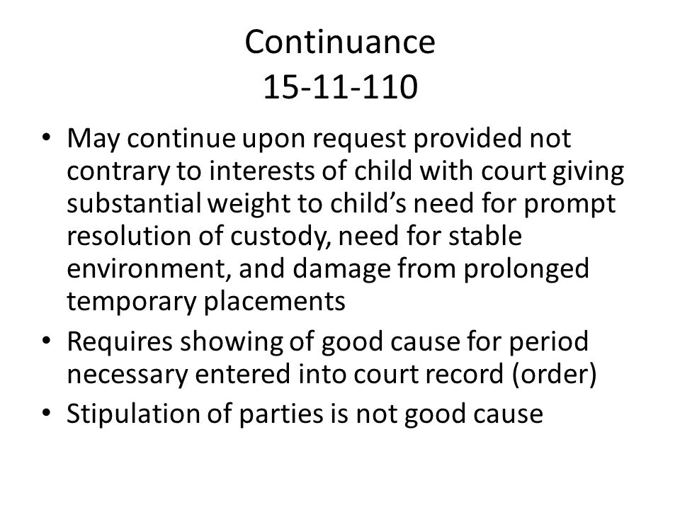 Continuance 15-11-110