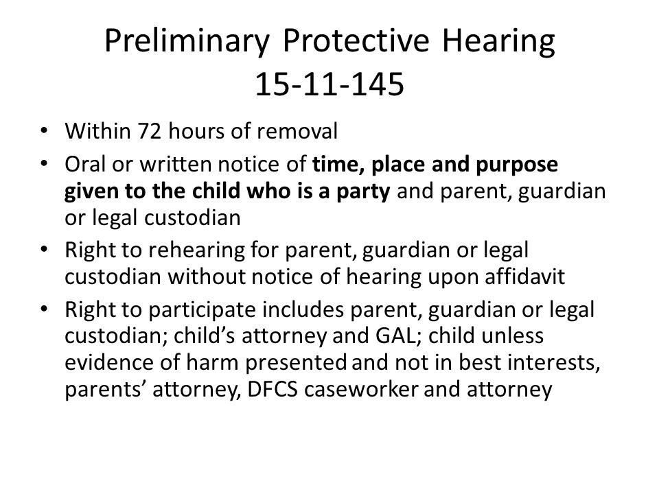 Preliminary Protective Hearing 15-11-145