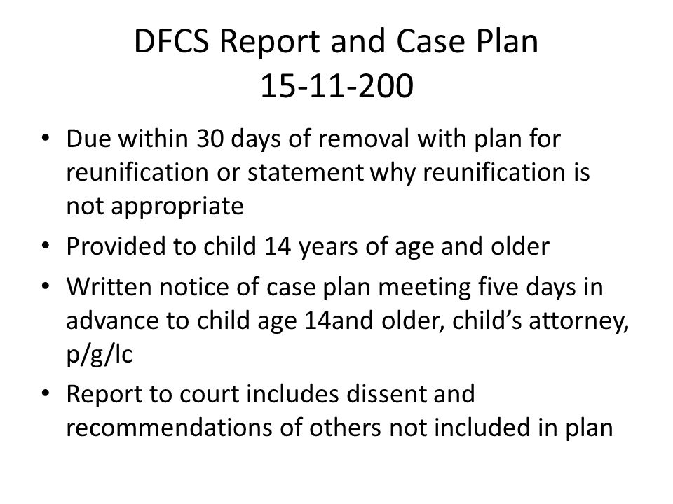 DFCS Report and Case Plan 15-11-200