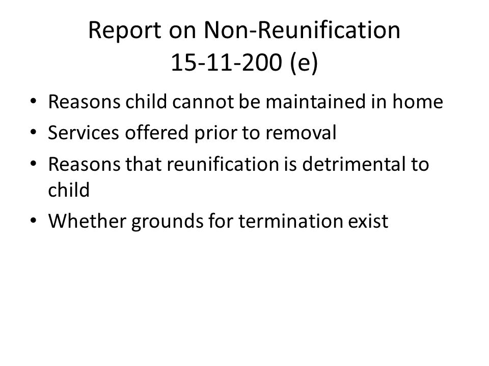 Report on Non-Reunification 15-11-200 (e)