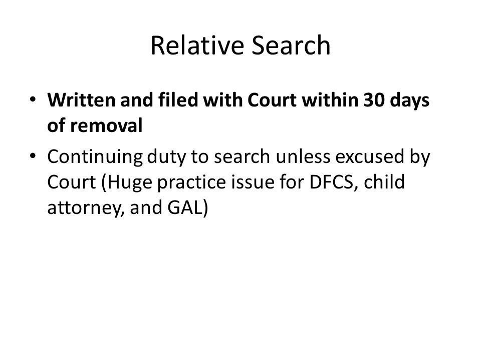 Relative Search Written and filed with Court within 30 days of removal