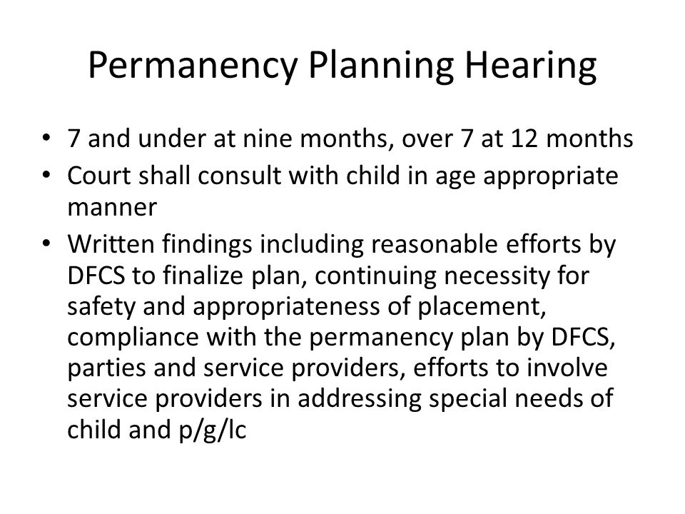 Permanency Planning Hearing