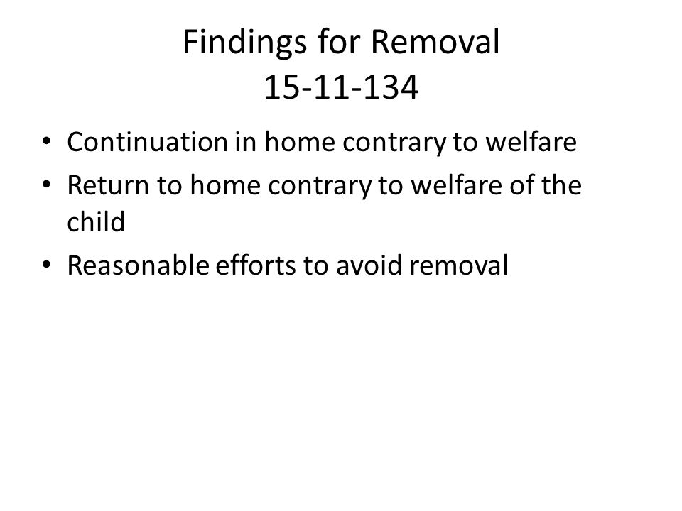 Findings for Removal 15-11-134