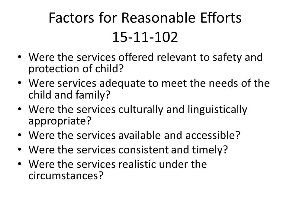 Factors for Reasonable Efforts 15-11-102