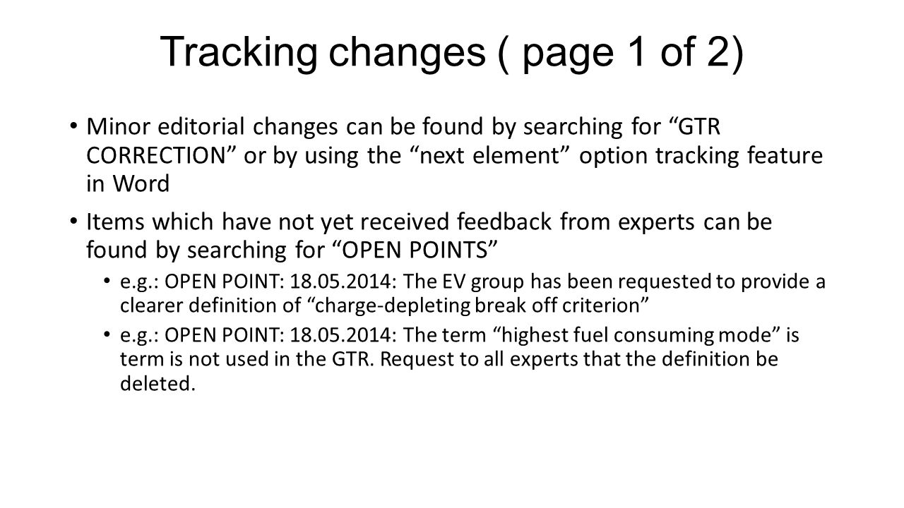 Tracking changes ( page 1 of 2)