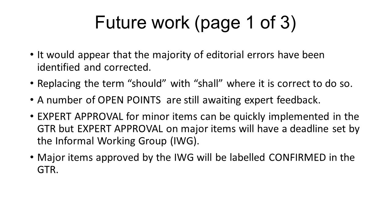 Future work (page 1 of 3) It would appear that the majority of editorial errors have been identified and corrected.