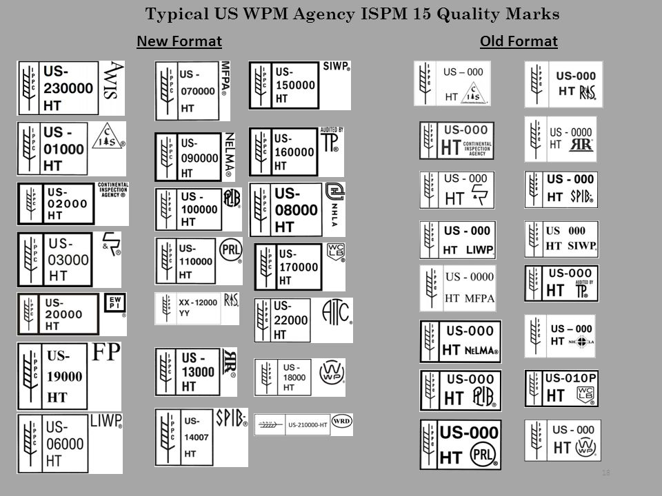 Typical US WPM Agency ISPM 15 Quality Marks