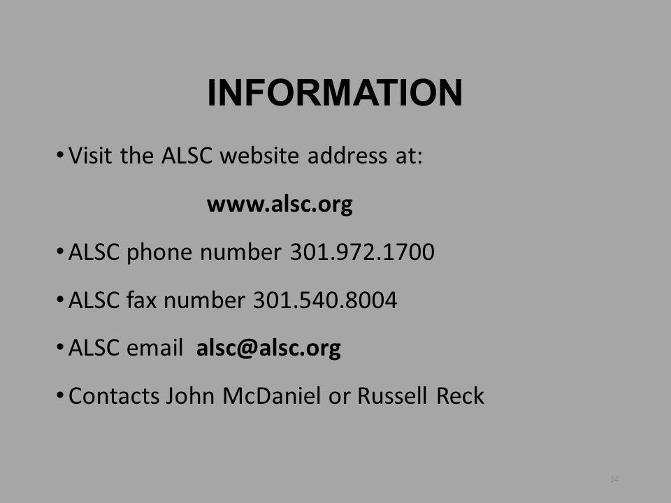 INFORMATION Visit the ALSC website address at: www.alsc.org