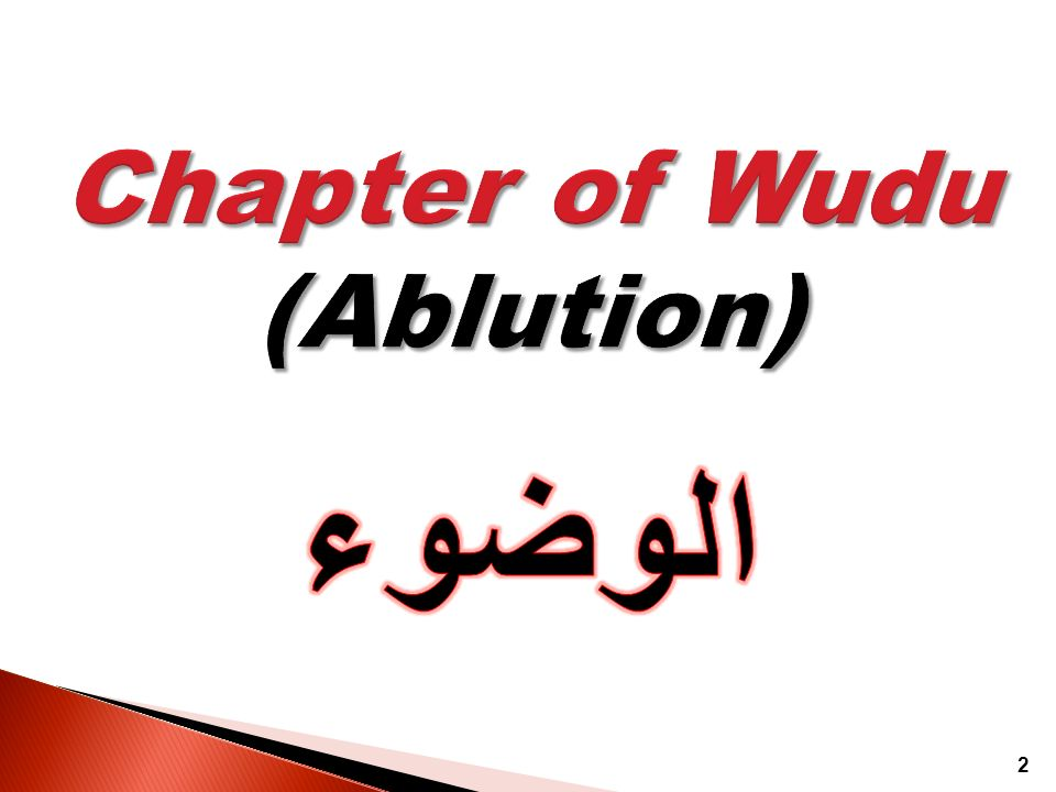 Chapter of Wudu (Ablution)