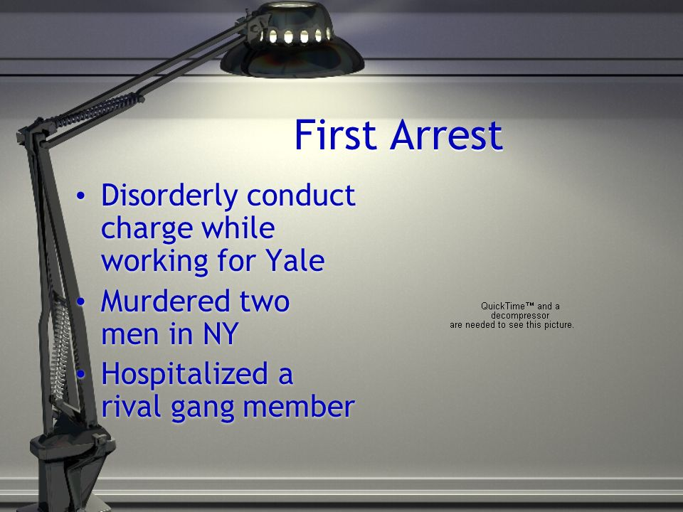 First Arrest Disorderly conduct charge while working for Yale