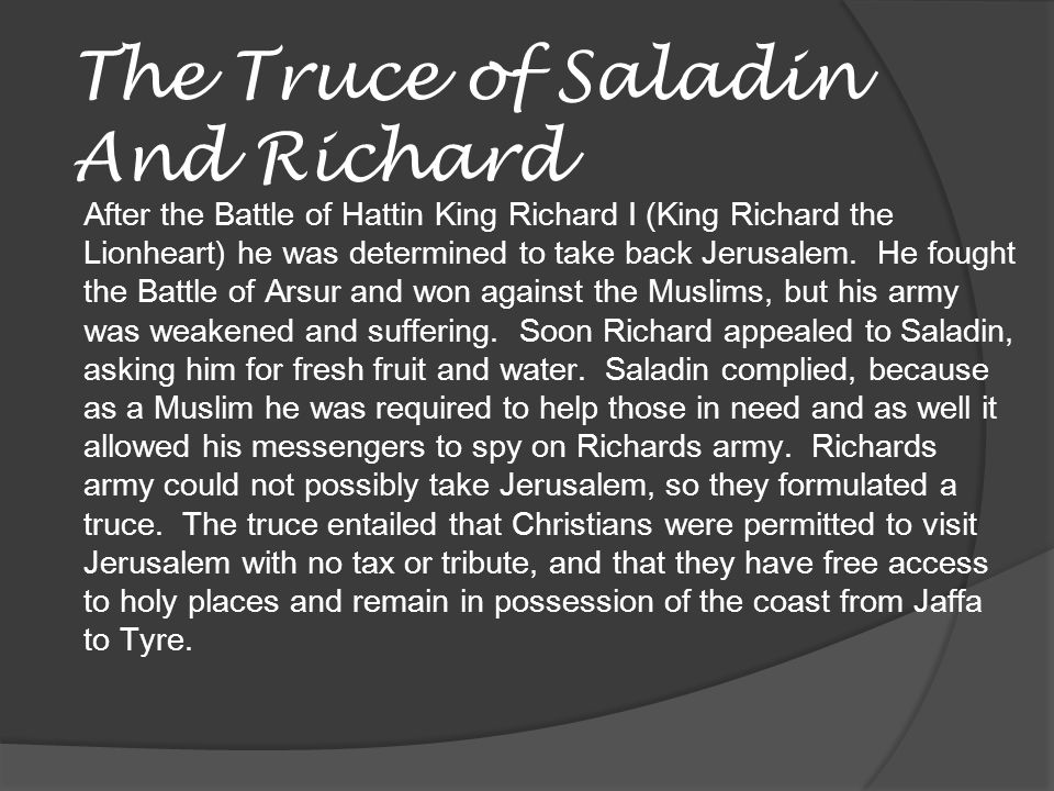 The Truce of Saladin And Richard