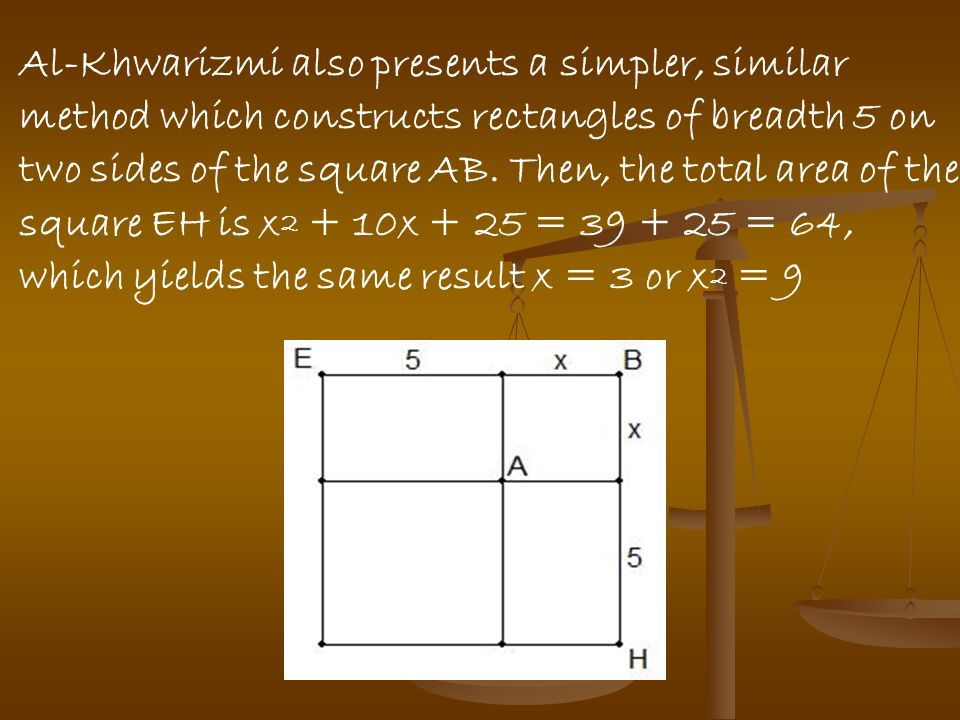 Al-Khwarizmi also presents a simpler, similar method which constructs rectangles of breadth 5 on two sides of the square AB.