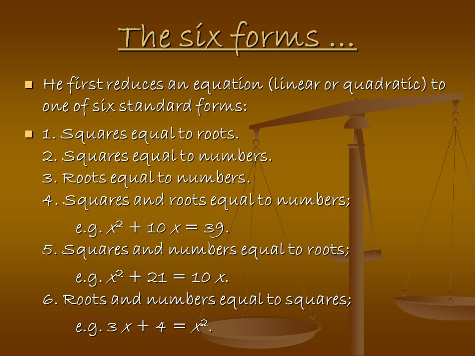 The six forms … He first reduces an equation (linear or quadratic) to one of six standard forms:
