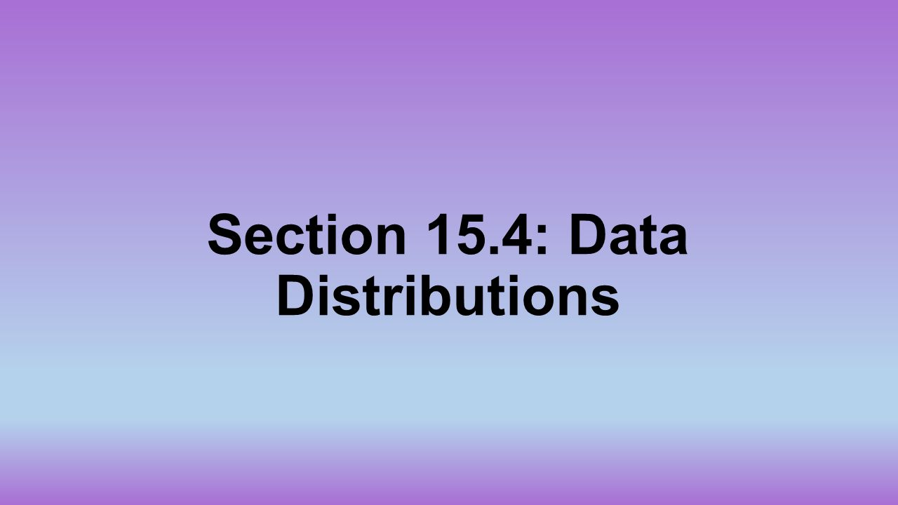 Section 15.4: Data Distributions
