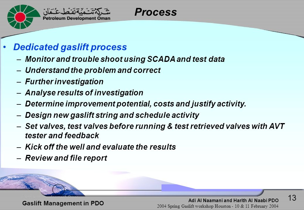 Process Dedicated gaslift process