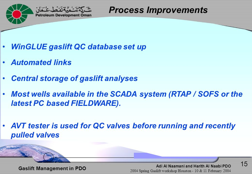 Process Improvements WinGLUE gaslift QC database set up