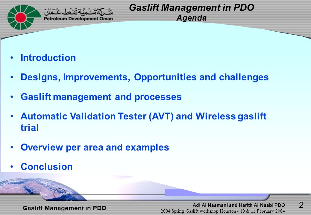 Gaslift Management in PDO Agenda