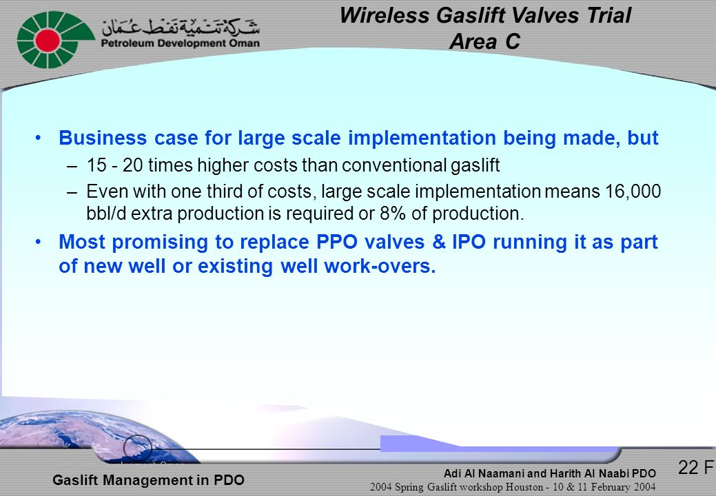 Wireless Gaslift Valves Trial Area C
