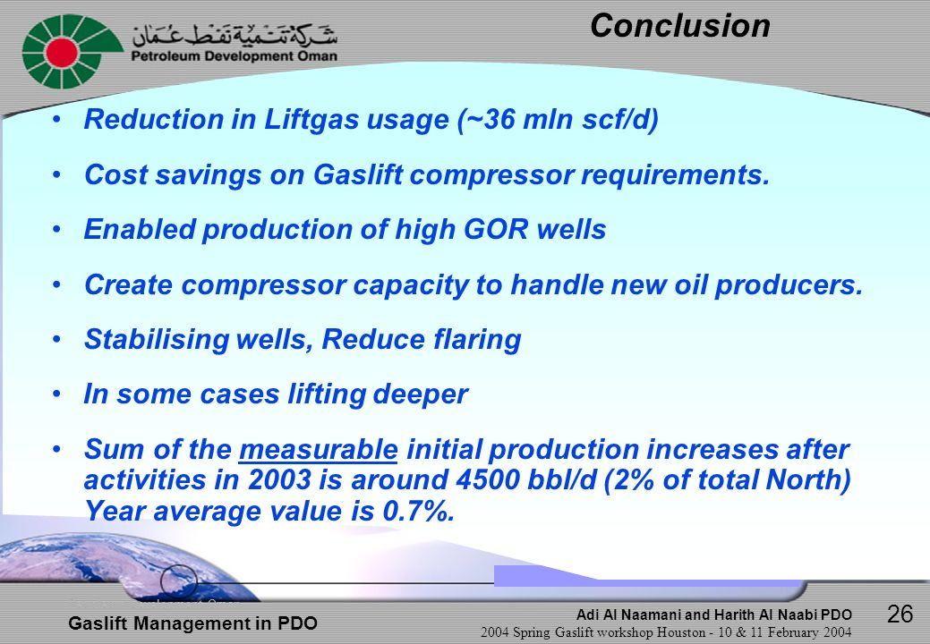 Conclusion Reduction in Liftgas usage (~36 mln scf/d)
