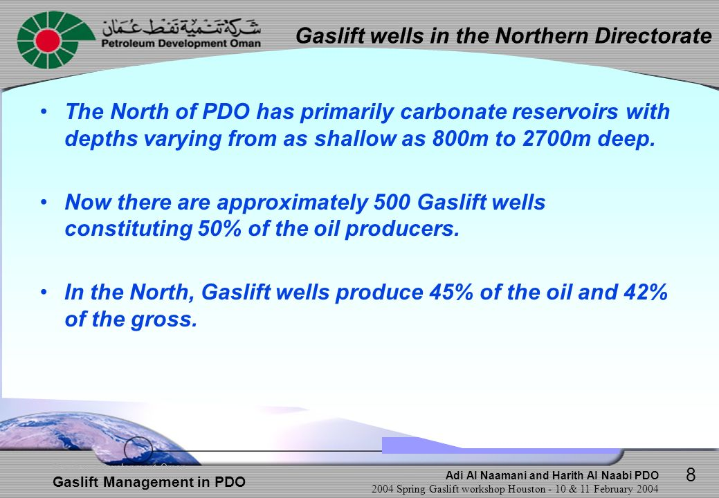 Gaslift wells in the Northern Directorate