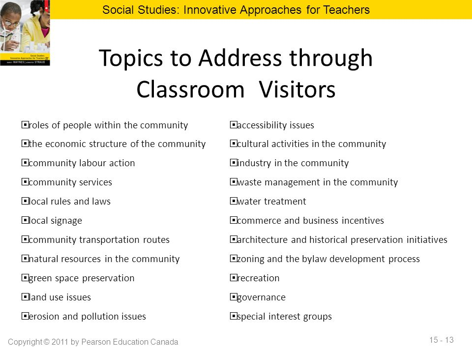Topics to Address through Classroom Visitors