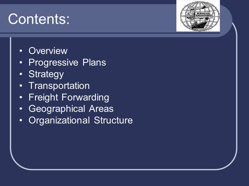 Contents: Overview Progressive Plans Strategy Transportation