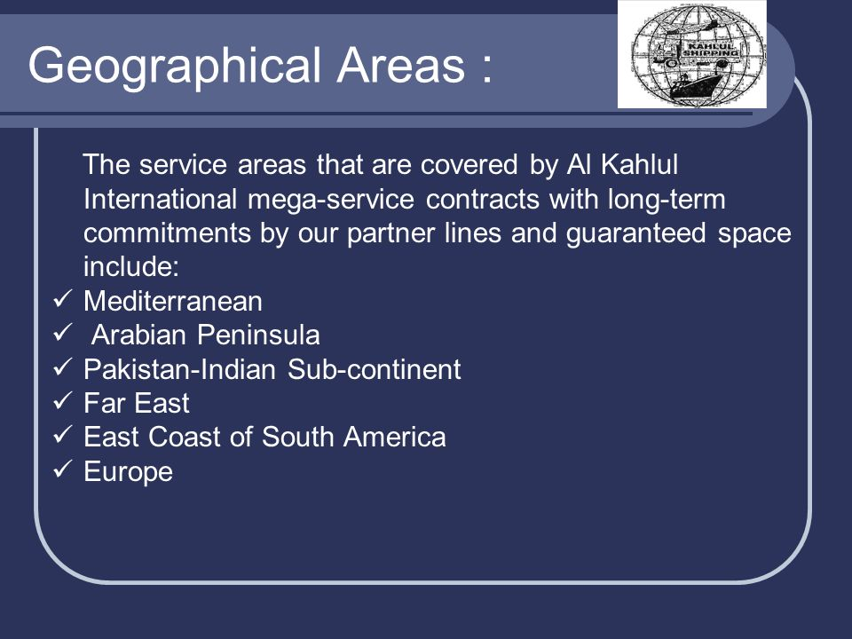 Geographical Areas :