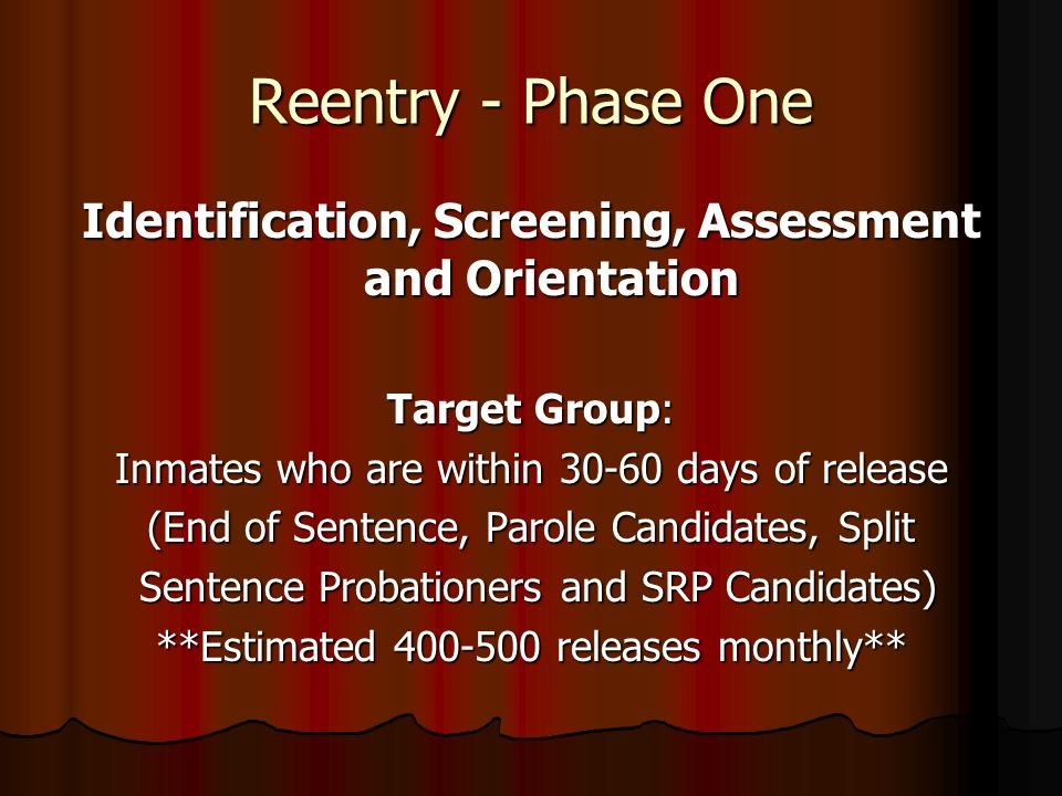Identification, Screening, Assessment and Orientation