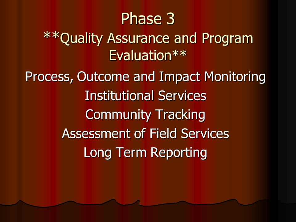 Phase 3 **Quality Assurance and Program Evaluation**