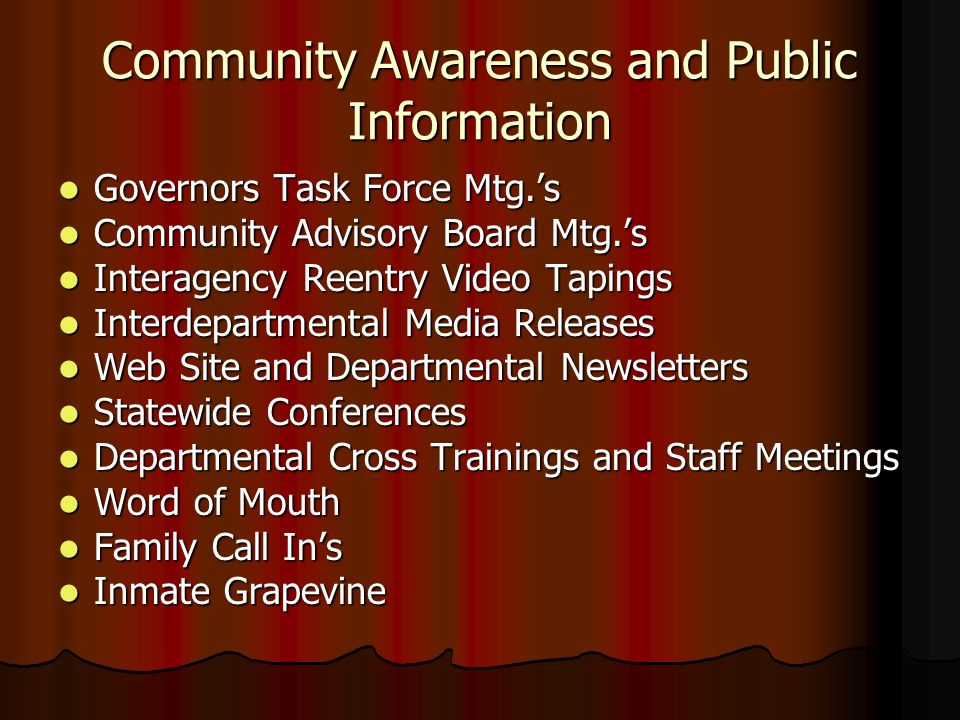 Community Awareness and Public Information