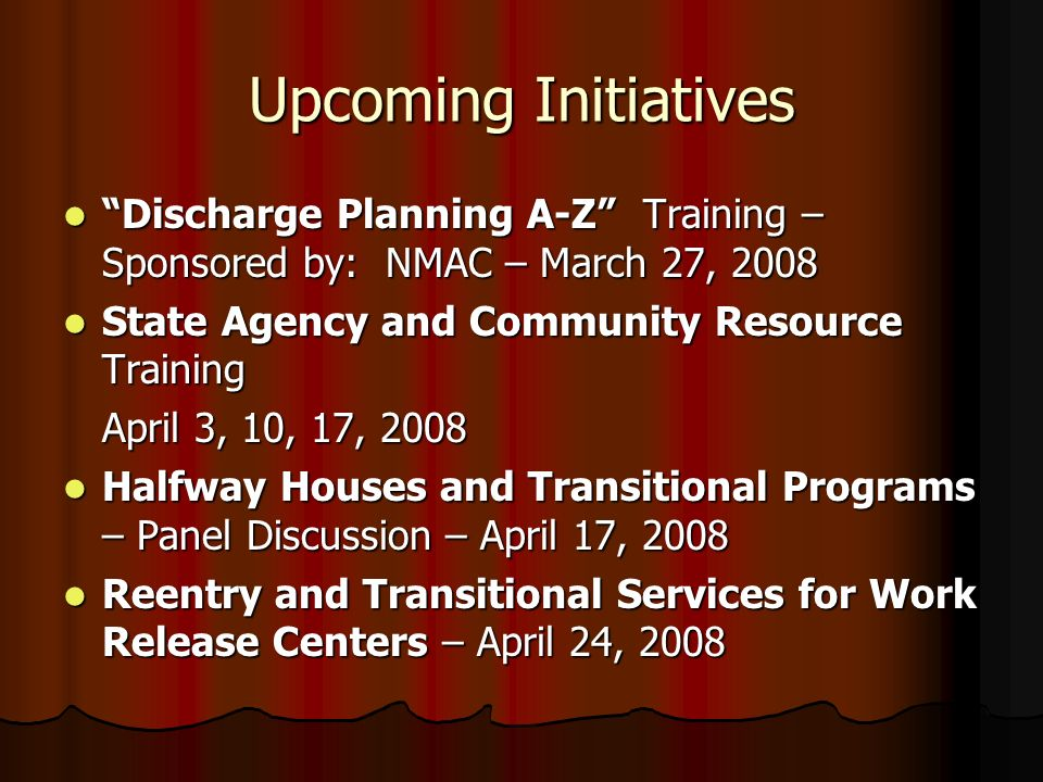 Upcoming Initiatives Discharge Planning A-Z Training – Sponsored by: NMAC – March 27, 2008. State Agency and Community Resource Training.