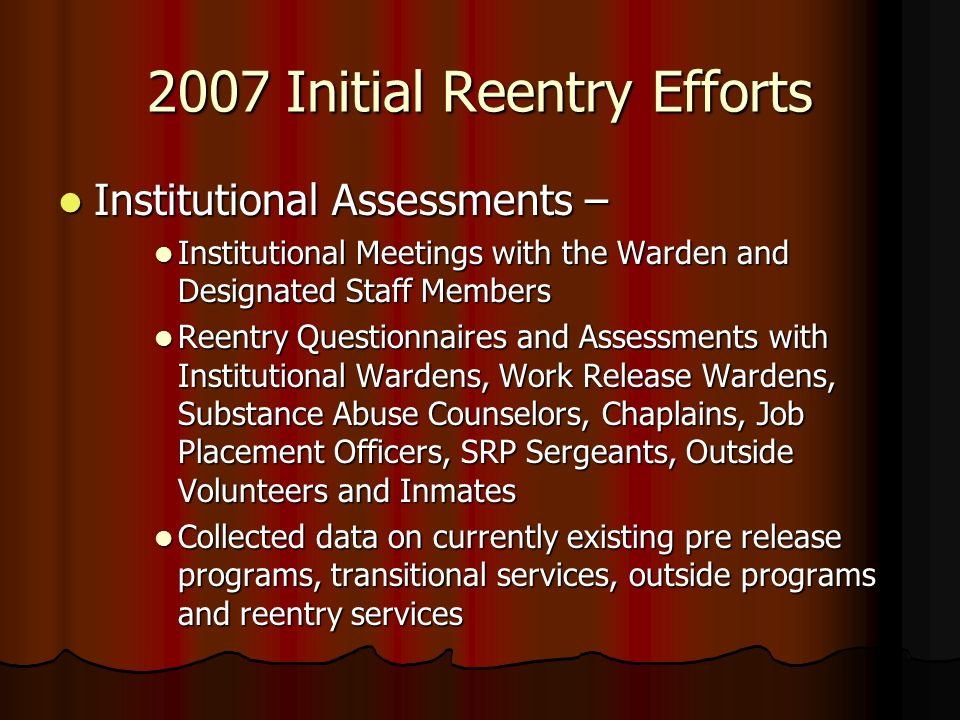 2007 Initial Reentry Efforts