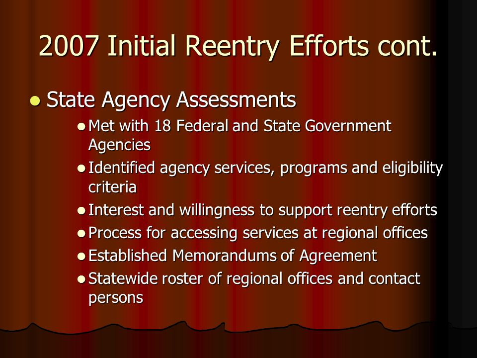 2007 Initial Reentry Efforts cont.
