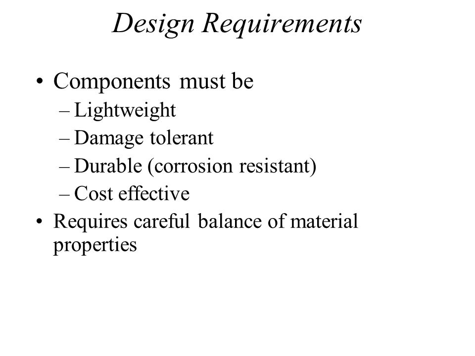 Design Requirements Components must be Lightweight Damage tolerant