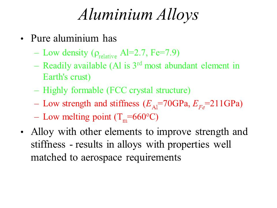 Aluminium Alloys Pure aluminium has