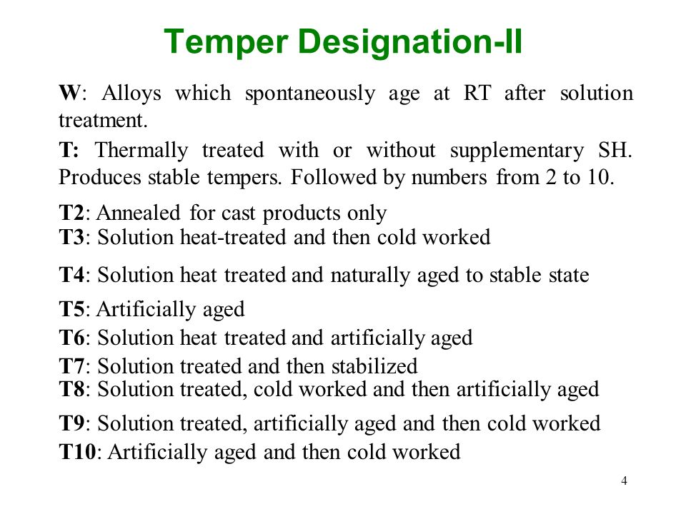 Temper Designation-II