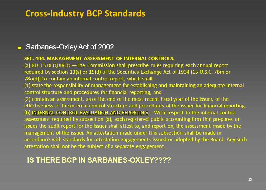 Cross-Industry BCP Standards