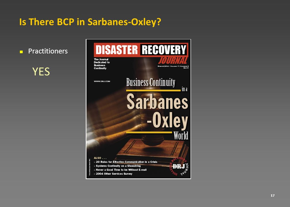 Is There BCP in Sarbanes-Oxley