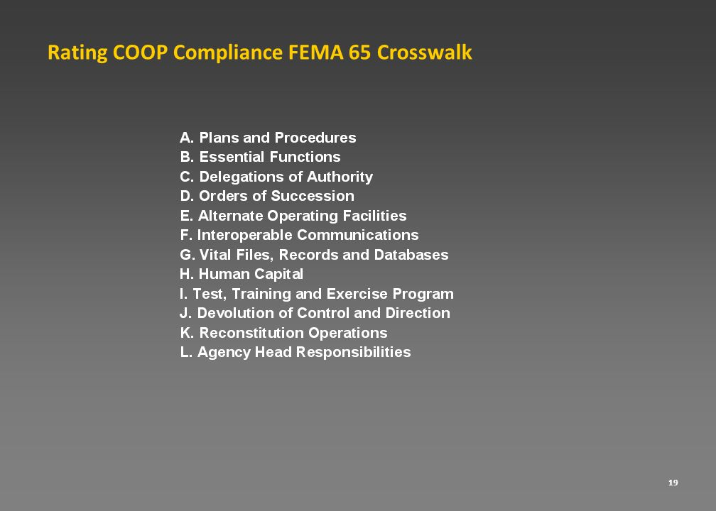 Rating COOP Compliance FEMA 65 Crosswalk